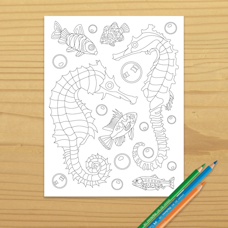 Ocean Coloring Seahorse Coloring Sea Horse Coloring Fish image 0