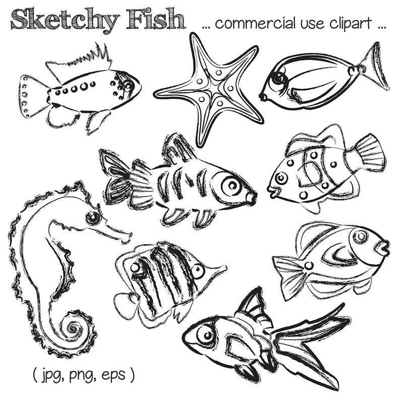 Fish Sketches Clipart Sketched Fish Clip Art Fish Clipart
