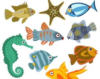 Printable FISH CLIP ART - Seahorse, Starfish, Tropical, Digital Download, EvisionArts