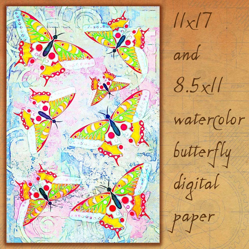 Watercolor Paper Butterfly Paper Butterfly Print Watercolor image 0