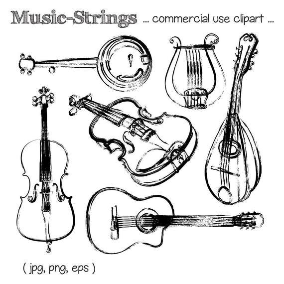 Music Clipart String Instrument Clipart Guitar Clipart Violin Clipart Harp Clipart Mandolin Clipart Cello Clipart Digital Download