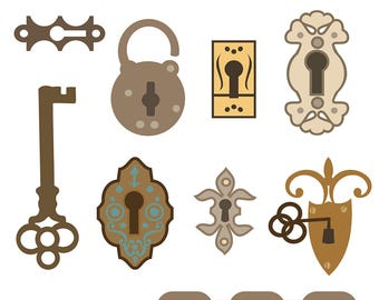 Printable Lock and KEY CLIP ART, Digital Download, EvisionArts