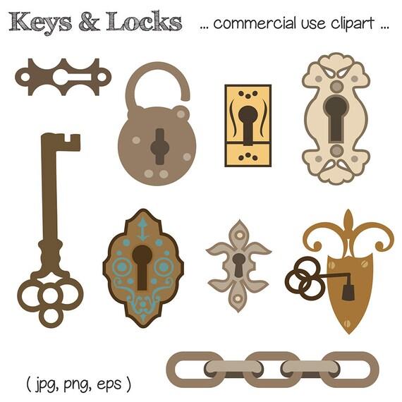 Key Clipart Lock Clipart Key Illustration Lock Etsy