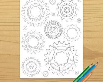 Printable GEARS COLORING PAGE - Steampunk, Digital Download, EvisionArts