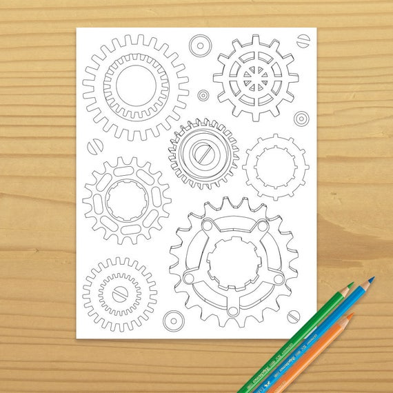 Gears Coloring Page Steampunk Machine Color