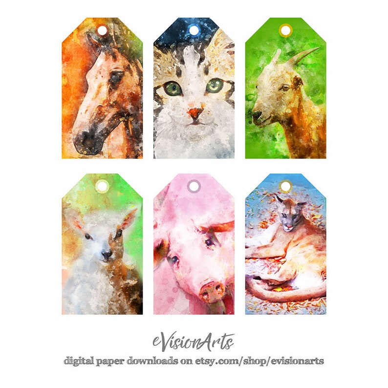Printable ANIMAL GIFT TAGS  Watercolor Cat Horse Goat image 0