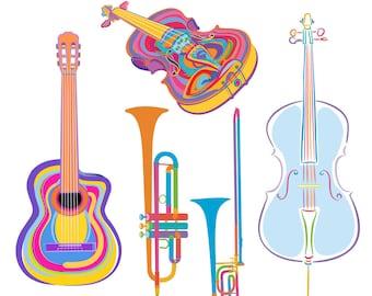 Printable MUSIC CLIP ART - guitar, violin, cello, trombone, trumpet, Digital Download, EvisionArts