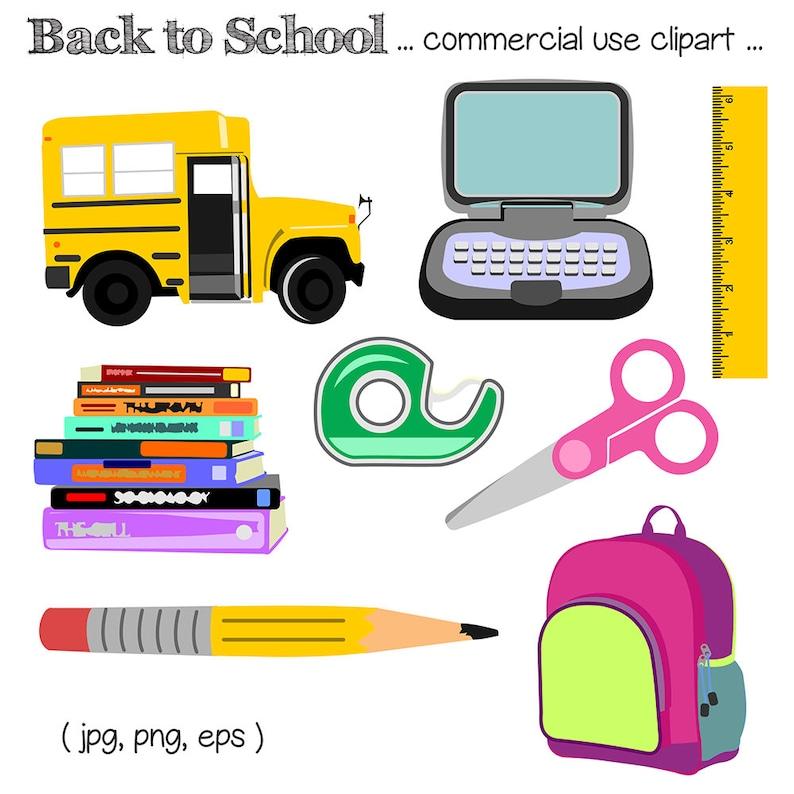 Back to School Clipart School Clip Art School Supplies image 0