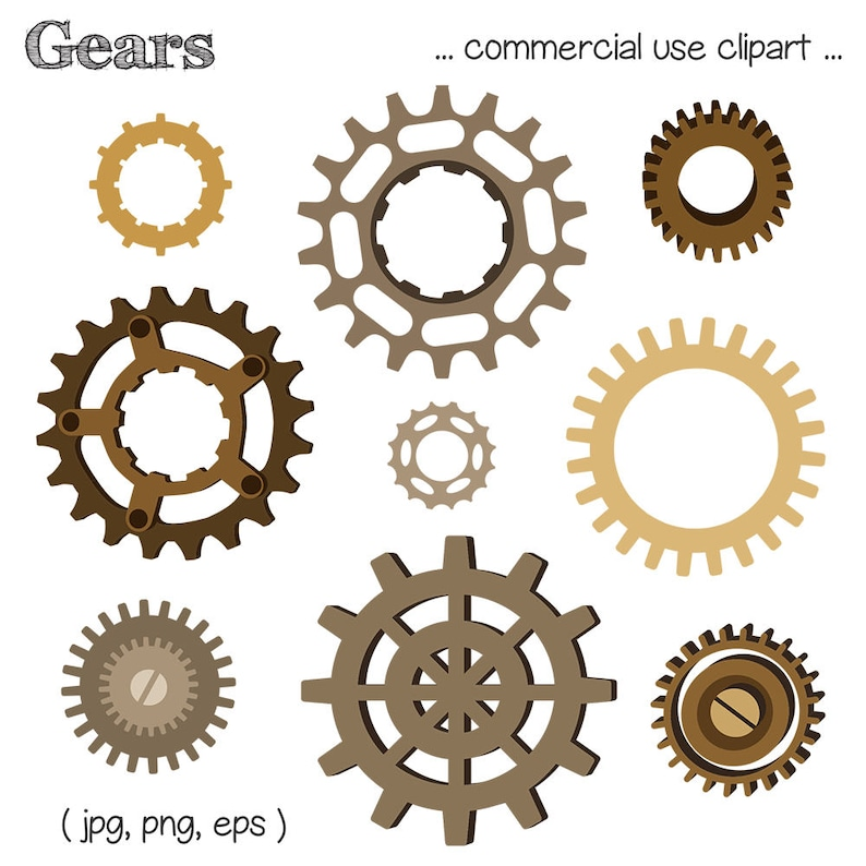 Printable GEAR CLIP ART  Steampunk Machinery Digital image 0