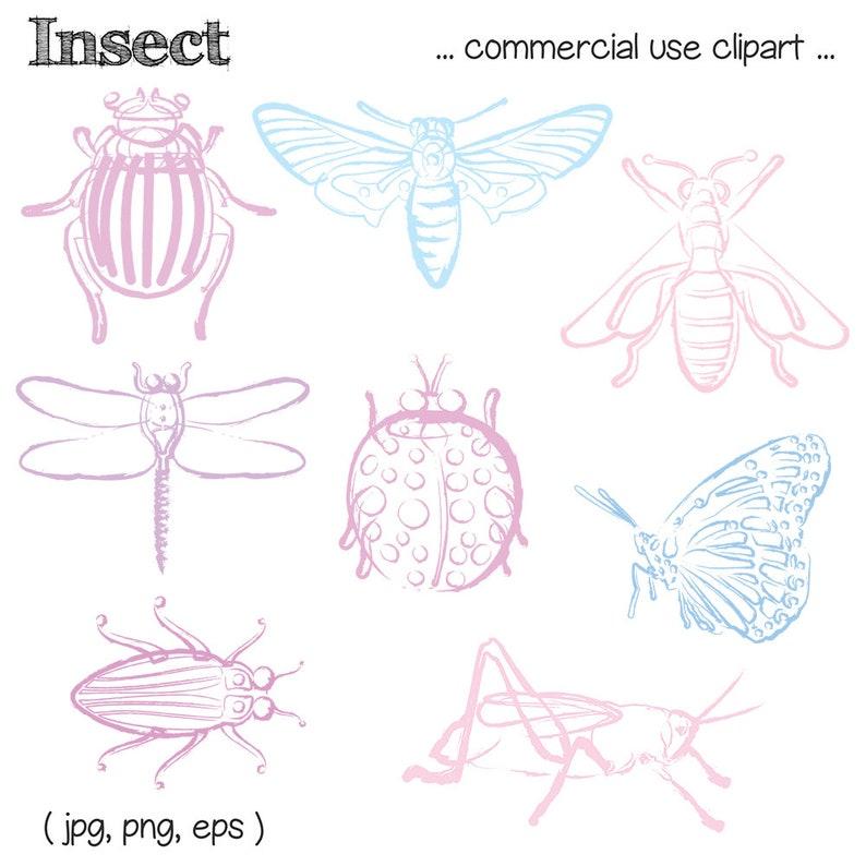 Printable Pastel INSECT CLIP ART  Line Art Color Digital image 0