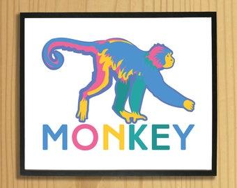 Printable MONKEY WALL ART, Digital Download, EvisionArts