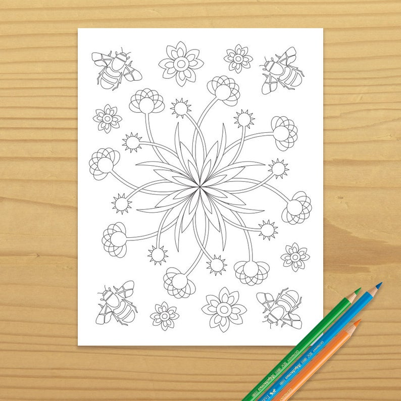Bee Coloring Page Flower Coloring Page Floral Coloring Page image 0
