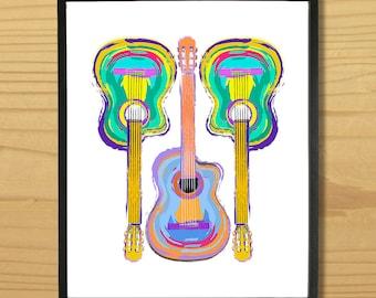 Printable GUITAR WALL ART, Digital Download, EvisionArts