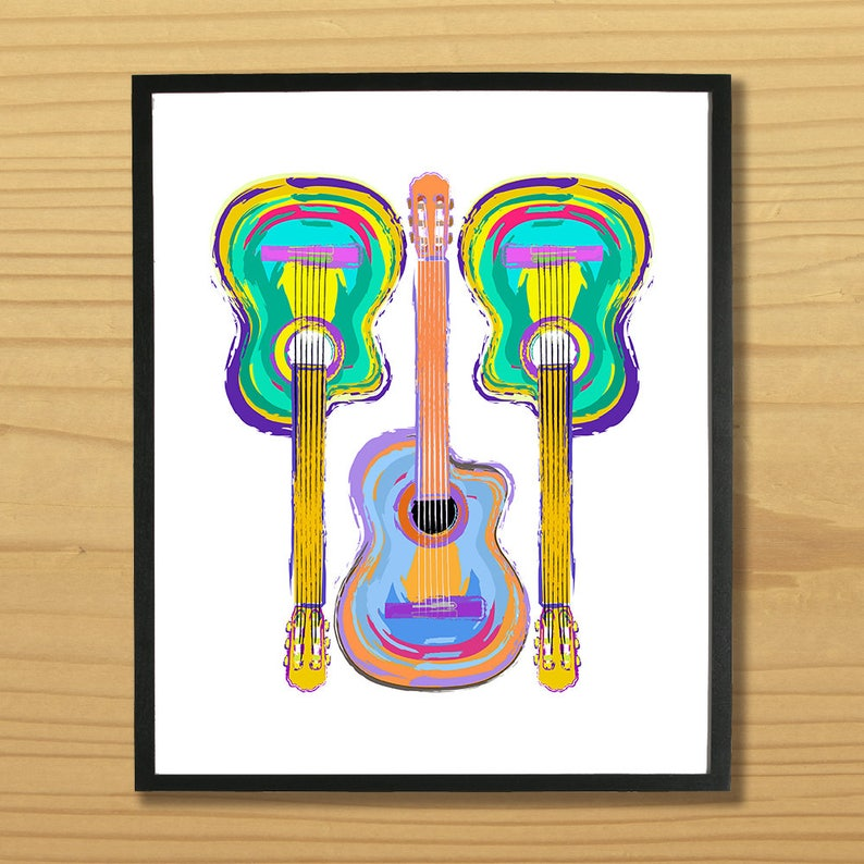 Guitar Wall Art Guitarist Print Music Art Musician Print image 0
