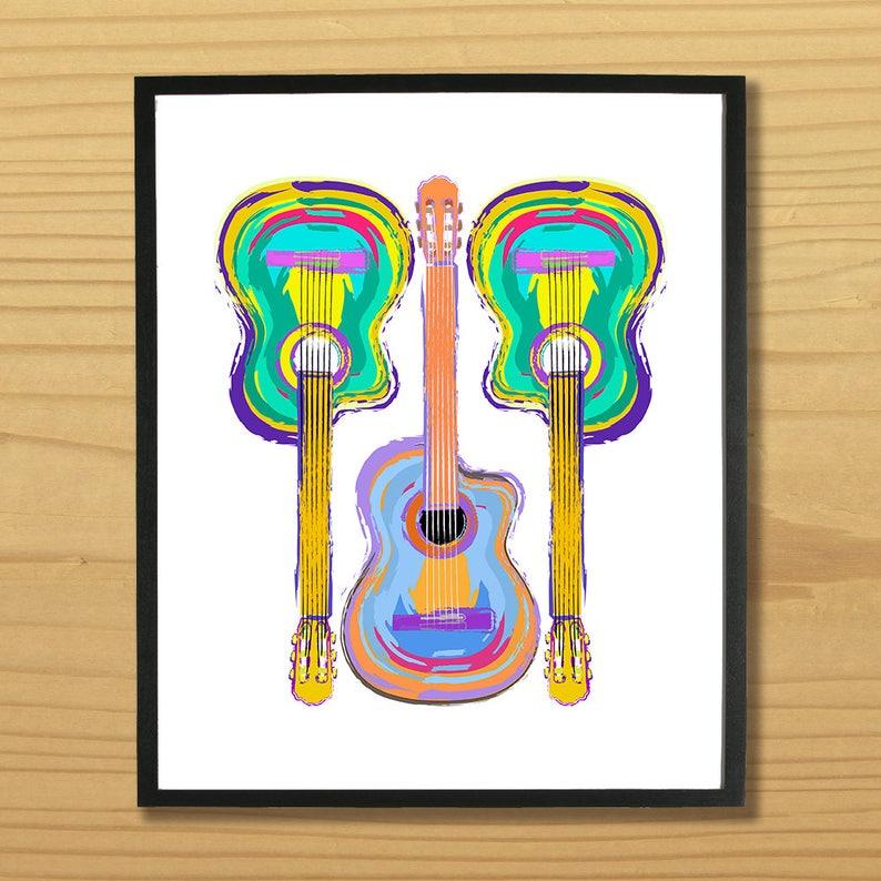 Guitar Wall Art Guitarist Print Music Art Musician Print image 0