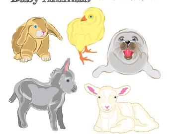 Printable Baby ANIMAL CLIP ART - Bunny, Duckling, Seal, Donkey, Lamb, Digital Download, EvisionArts