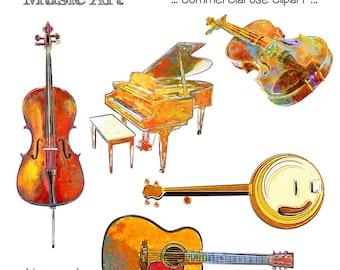 Printable MUSIC CLIP ART - Cello, Piano, Violin, Banjo, Guitar, Digital Download, EvisionArts