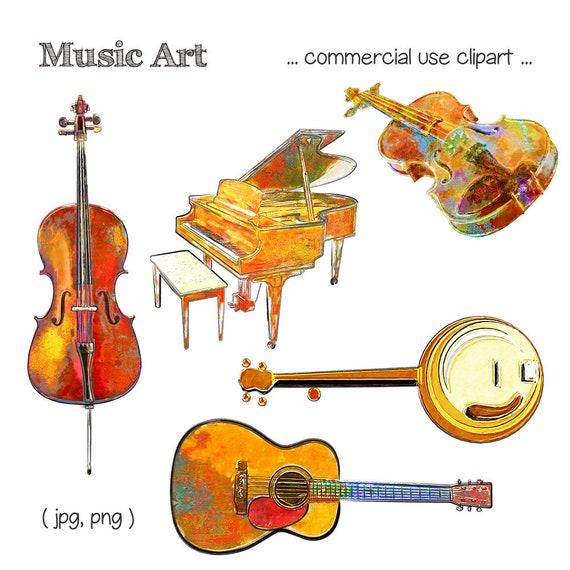 Music Clipart Music Clip Art Cello Clipart Piano Clipart Violin Clipart Banjo Clipart Guitar Clipart Digital Download