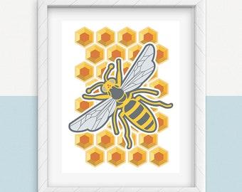 Printable BEE WALL ART, Digital Download, EvisionArts