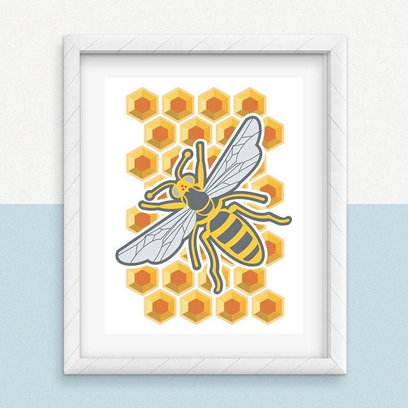 Bee Print Bumblebee Print Honey Bee Print Bug Print Insect image 0