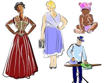 Printable PEOPLE CLIP ART - Woman, Man, Baby, Digital Download, EvisionArts
