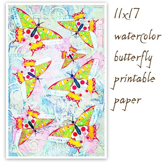 photograph relating to Printable Watercolor Paper titled Watercolor Paper, Butterfly Paper, Butterfly Print, Watercolor Print, Butterfly Sbook Paper,Watercolor Sbook Paper, Electronic Down load