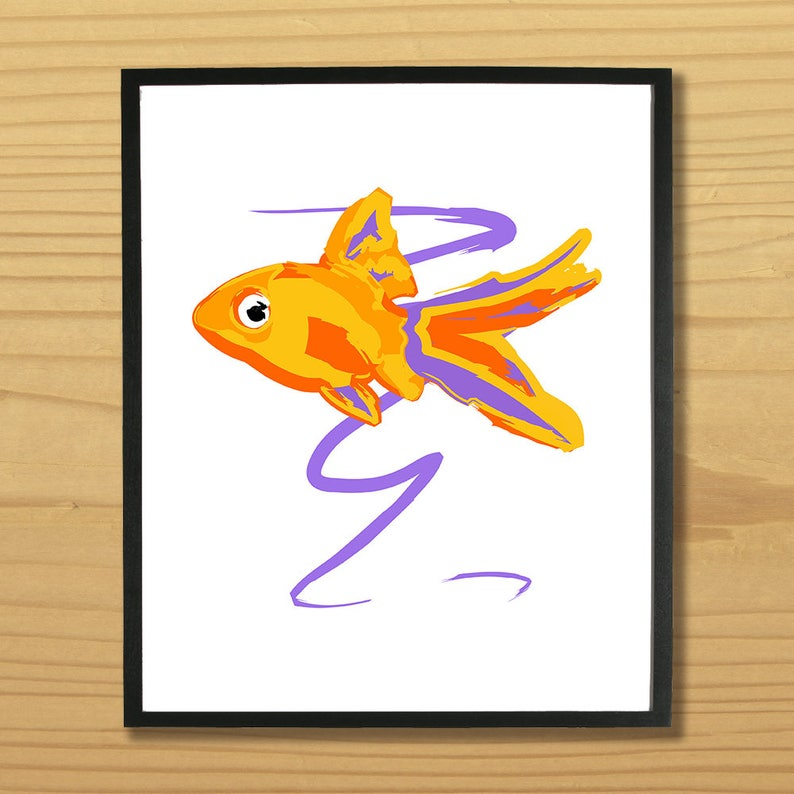 Goldfish Wall Art Gold Fish Print Fish Art Animal Print image 0