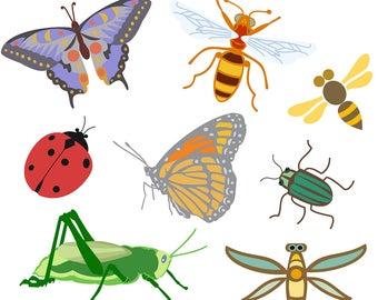 Printable BUG CLIP ART - Butterfly, Grasshopper, Beetle, Ladybug, Digital Download, EvisionArts
