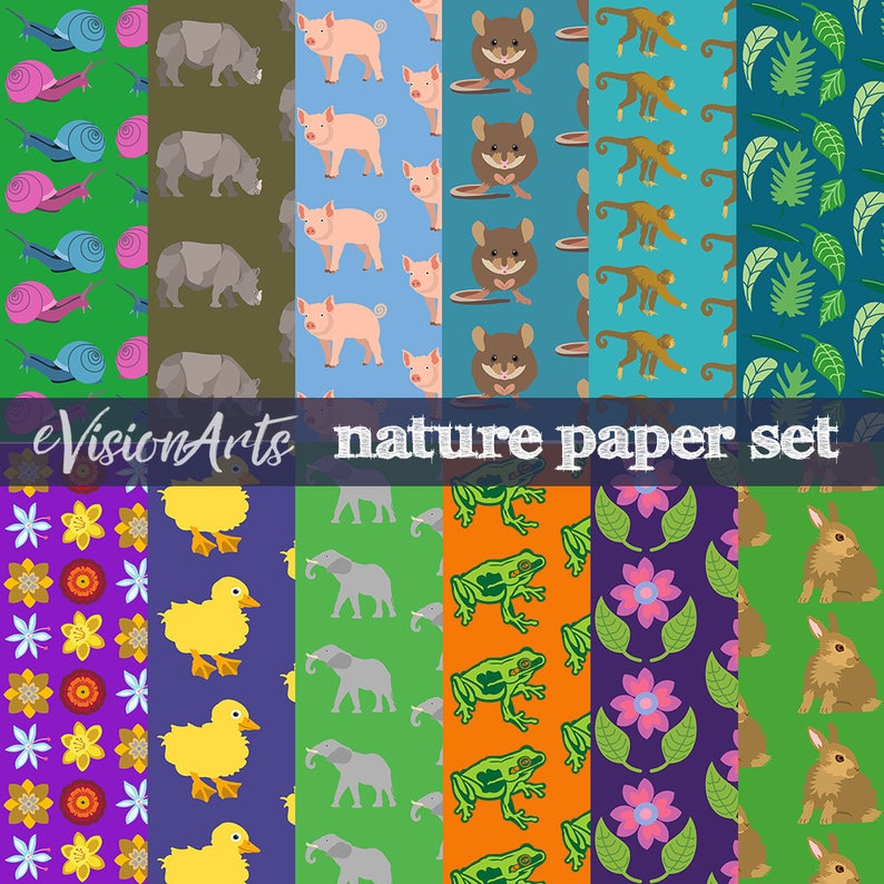 Animal Scrapbook Paper animal printable animal digital image 0