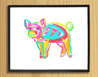 Printable PIG WALL ART, Digital Download, EvisionArts