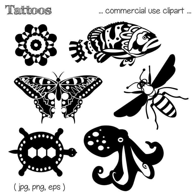 Tattoo Clipart Butterfly Clipart Fish Clipart Bee Clipart image 0