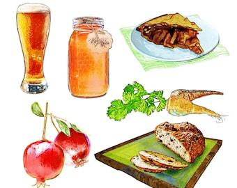 Printable FOOD CLIP ART - Watercolor, Beer, Honey, Pie, Pomegranate, Carrot, Bread, Digital Download, EvisionArts