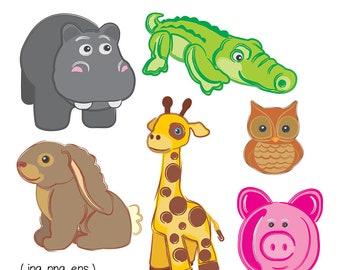 Printable Baby ANIMAL CLIP ART - Hippo, Alligator, Bunny, Giraffe, Owl, Pig, Digital Download, EvisionArts