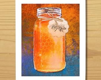 Printable Honey BEE WALL ART, Digital Download, EvisionArts
