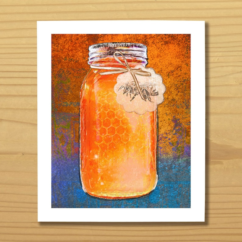 Bee Print Honey Print Bumblebee Print Honey Jar Print Food image 0