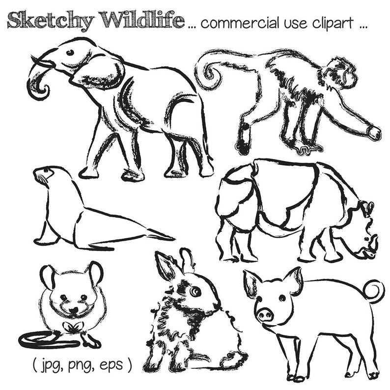 Sketched Animal Clipart Animal Clip Art Elephant Clipart