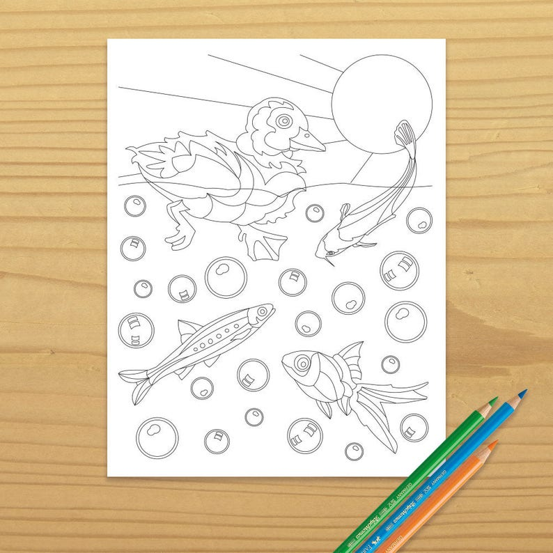 Duckling Coloring Page Duck Coloring Page Fish Coloring image 0