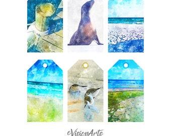 Printable BEACH GIFT TAGS, Digital Download, EvisionArts