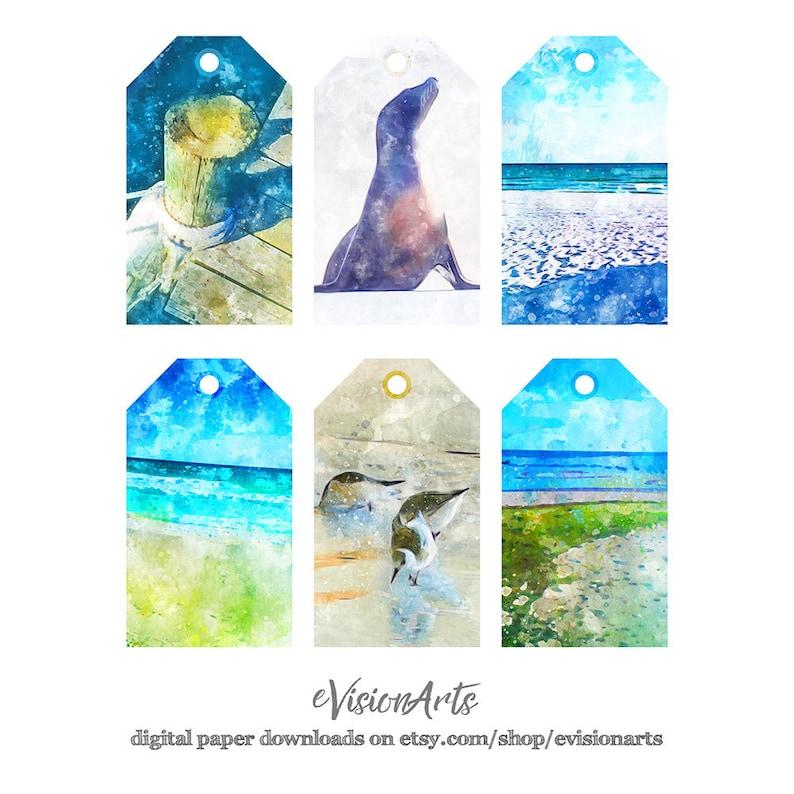 Printable BEACH GIFT TAGS Digital Download EvisionArts image 0