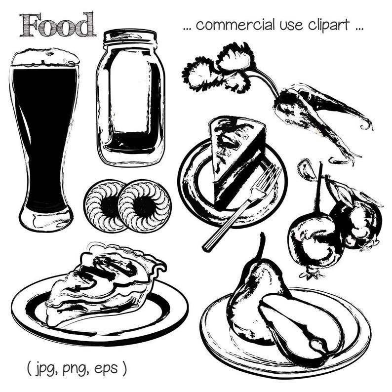Food Clipart Food Sketches Food Art Dessert Clipart Pie image 0