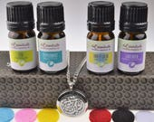 Aum OM 316L Surgical Stainless Steel Aromatherapy Diffuser Gift Set (Includes Lavender, Peppermint, Zen, Inner Calm - 5 ml Bottles)