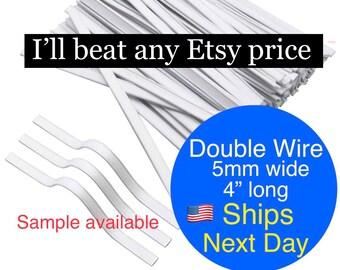 FANGULU Double Wire Nose Pieces Wires Insert Flat Reusable PE Nose Wire Clips Straps 200PCS Plastic Nose Bridge Strips
