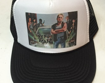 Repo Man Movie Poster bad ass limited edition adjustable size snapback mesh  classic trucker hat. 1b746303d25