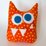 Tooth Fairy Pillow - Personalized Monster - Orange Print with Blue Eyes and optional Blue Polka Dot initial applique