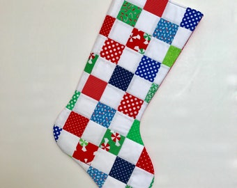 Christmas Stocking - Patchwork Quilted Christmas Stocking - Personalized Christmas Stocking - Christmas Stocking