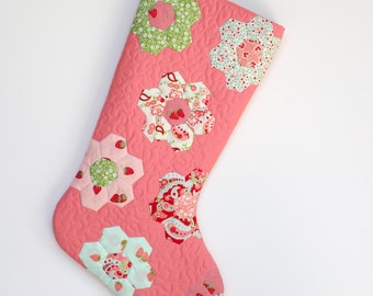 Christmas Stocking - Hand Appliqued Quilted Christmas Stocking - Hexagons - Personalized Christmas Stocking