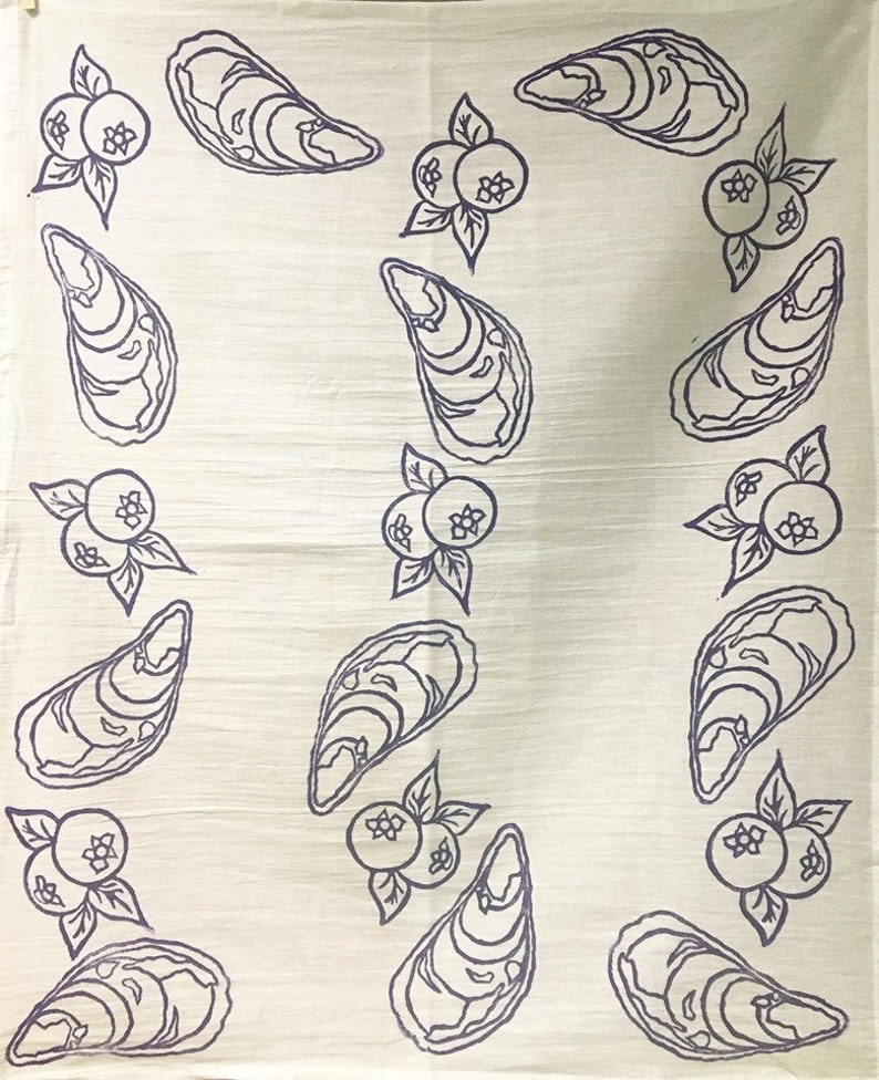 Oyster and Blueberry Tea Towel image 0