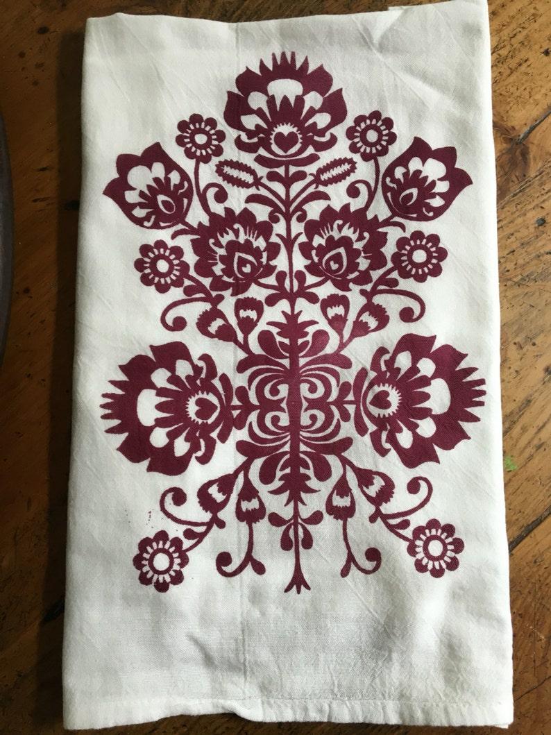 Folk Art Tea Towel image 0