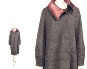 Winter COAT by SHMATA couture collectible, GREY coat in charcoal felted wool, 20s silhouette