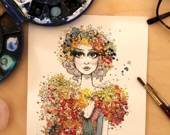 Original Fashion Illustration - Flower Queen